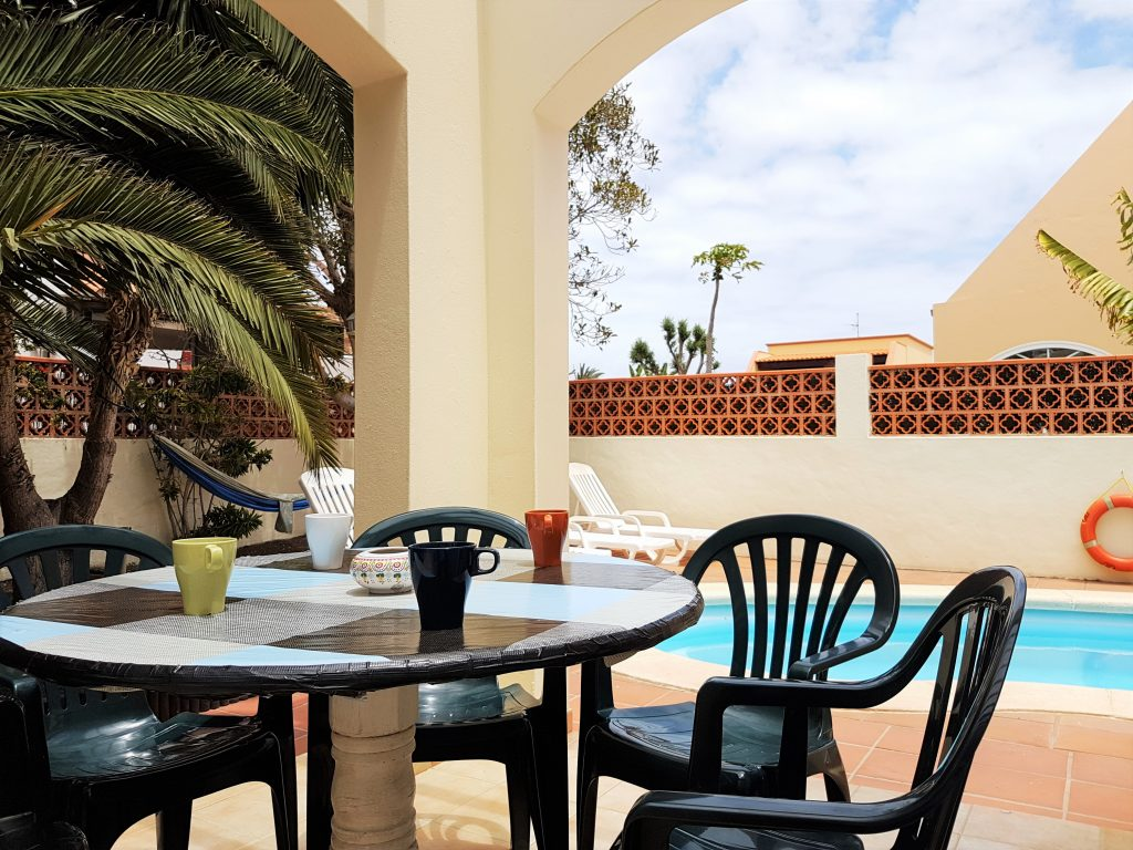 terrace at Kohola surf house Fuerteventura